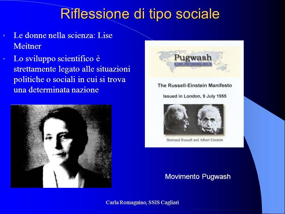 Carla Romagnino, SSIS Cagliari Riflessione di tipo sociale Le donne nella scienza: Lise Meitner Lo sviluppo scientifico è strettamente legato alle sit