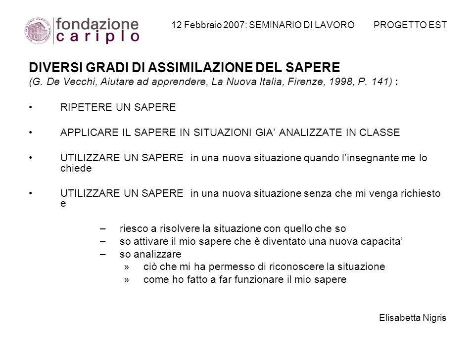 12 Febbraio 2007: SEMINARIO DI LAVORO PROGETTO EST DIVERSI GRADI DI ASSIMILAZIONE DEL SAPERE (G. De Vecchi, Aiutare ad apprendere, La Nuova Italia, Fi