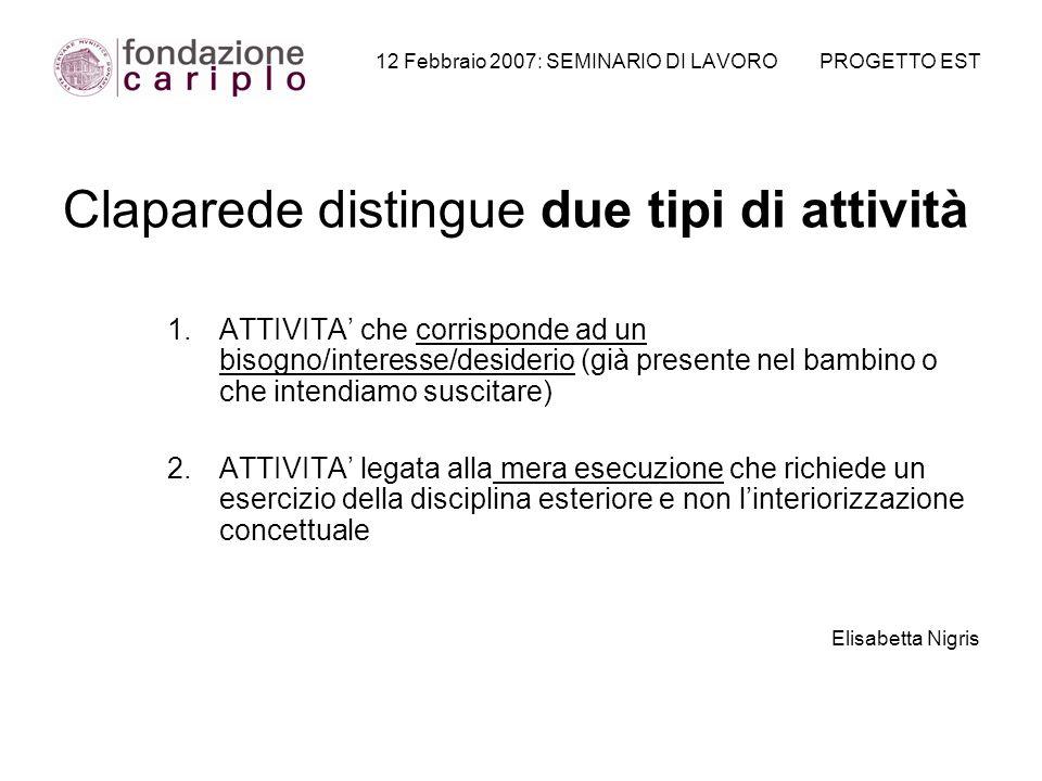 12 Febbraio 2007: SEMINARIO DI LAVORO PROGETTO EST Claparede distingue due tipi di attività 1.ATTIVITA che corrisponde ad un bisogno/interesse/desider
