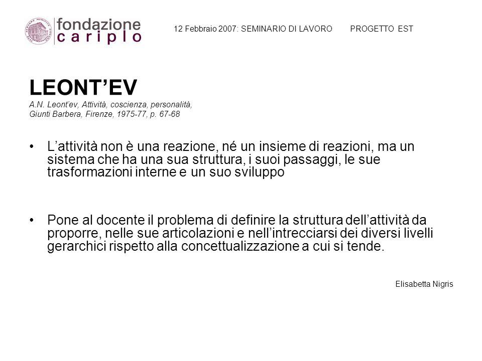 12 Febbraio 2007: SEMINARIO DI LAVORO PROGETTO EST LEONTEV A.N. Leontev, Attività, coscienza, personalità, Giunti Barbera, Firenze, 1975-77, p. 67-68