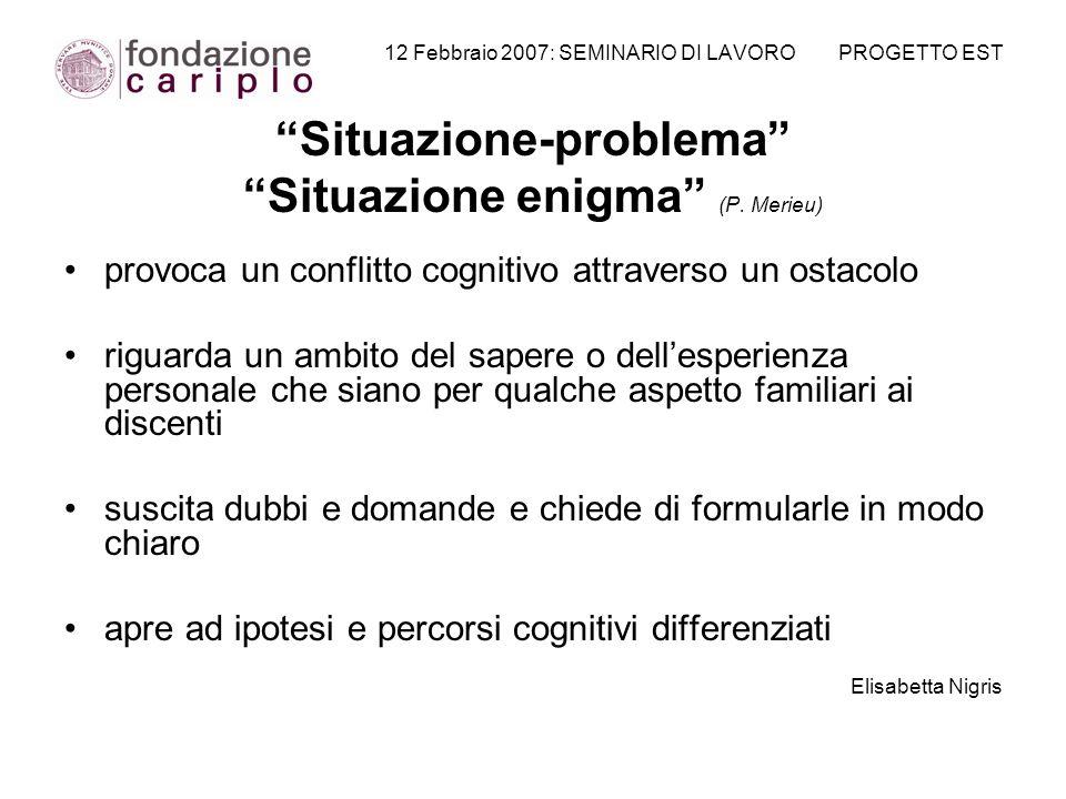 12 Febbraio 2007: SEMINARIO DI LAVORO PROGETTO EST Situazione-problema Situazione enigma (P. Merieu) provoca un conflitto cognitivo attraverso un osta