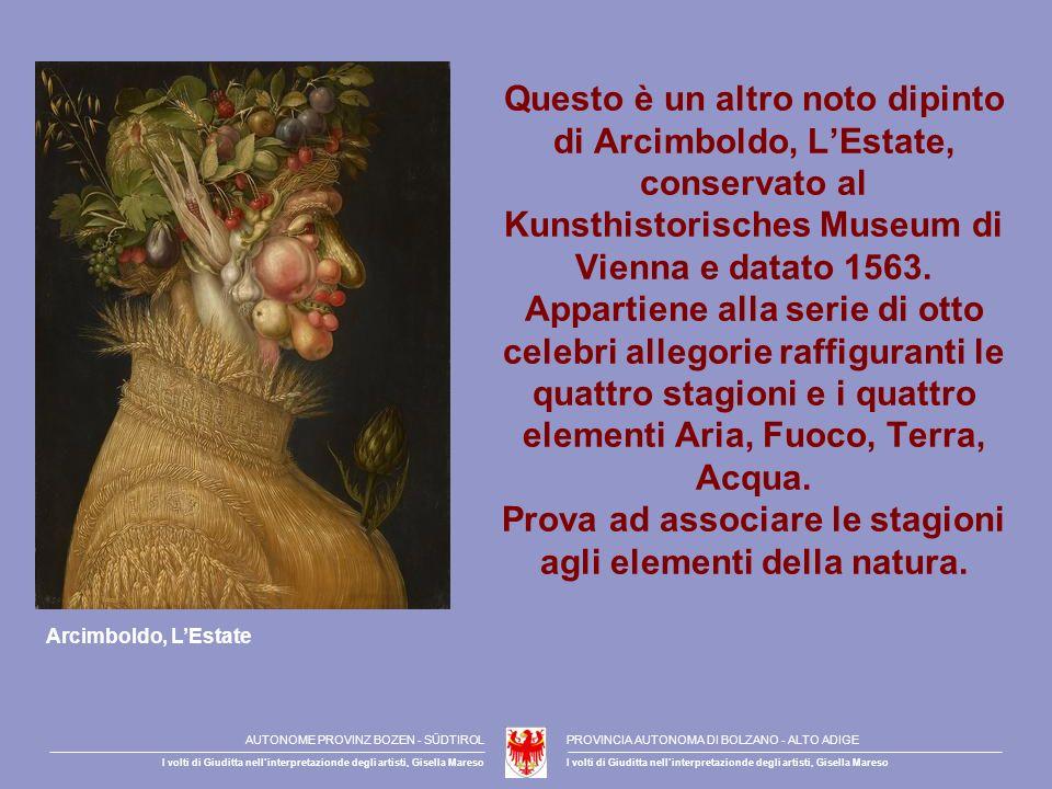 Questo è un altro noto dipinto di Arcimboldo, LEstate, conservato al Kunsthistorisches Museum di Vienna e datato 1563. Appartiene alla serie di otto c