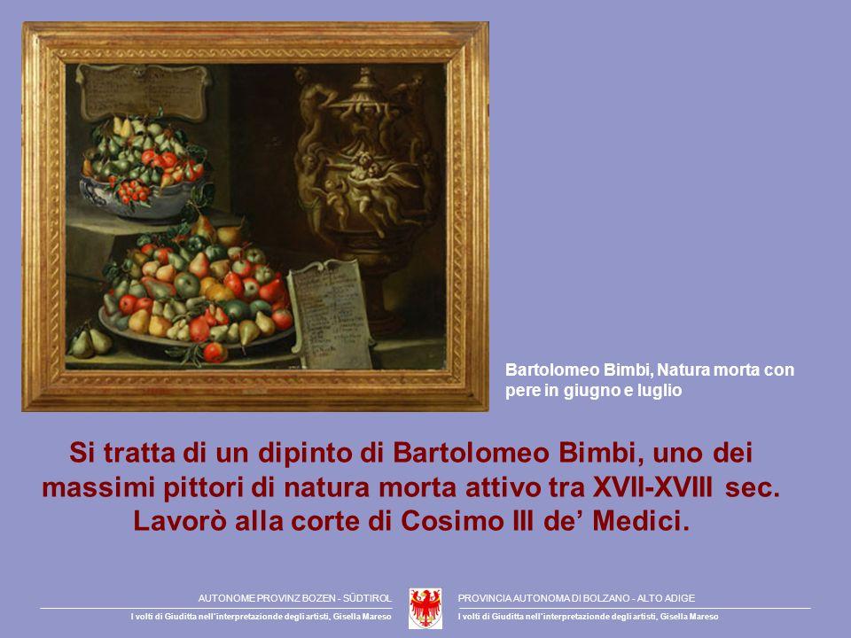 Si tratta di un dipinto di Bartolomeo Bimbi, uno dei massimi pittori di natura morta attivo tra XVII-XVIII sec. Lavorò alla corte di Cosimo III de Med