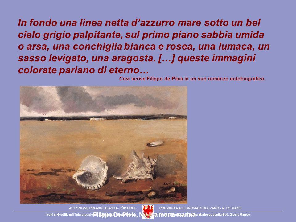 In fondo una linea netta dazzurro mare sotto un bel cielo grigio palpitante, sul primo piano sabbia umida o arsa, una conchiglia bianca e rosea, una l