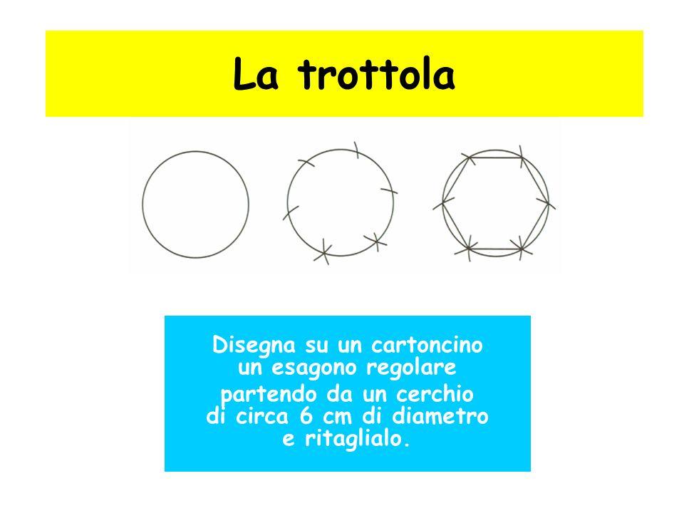 La trottola Disegna su un cartoncino un esagono regolare partendo da un cerchio di circa 6 cm di diametro e ritaglialo.