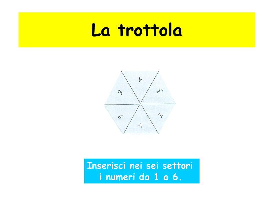 La trottola Inserisci nei sei settori i numeri da 1 a 6.