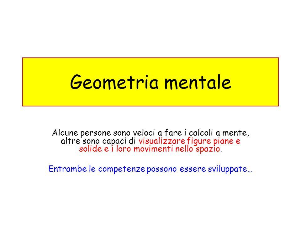 Geometria mentale Alcune persone sono veloci a fare i calcoli a mente, altre sono capaci di visualizzare figure piane e solide e i loro movimenti nell