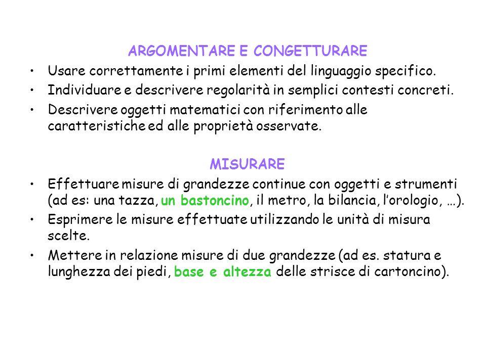 ARGOMENTARE E CONGETTURARE Usare correttamente i primi elementi del linguaggio specifico. Individuare e descrivere regolarità in semplici contesti con