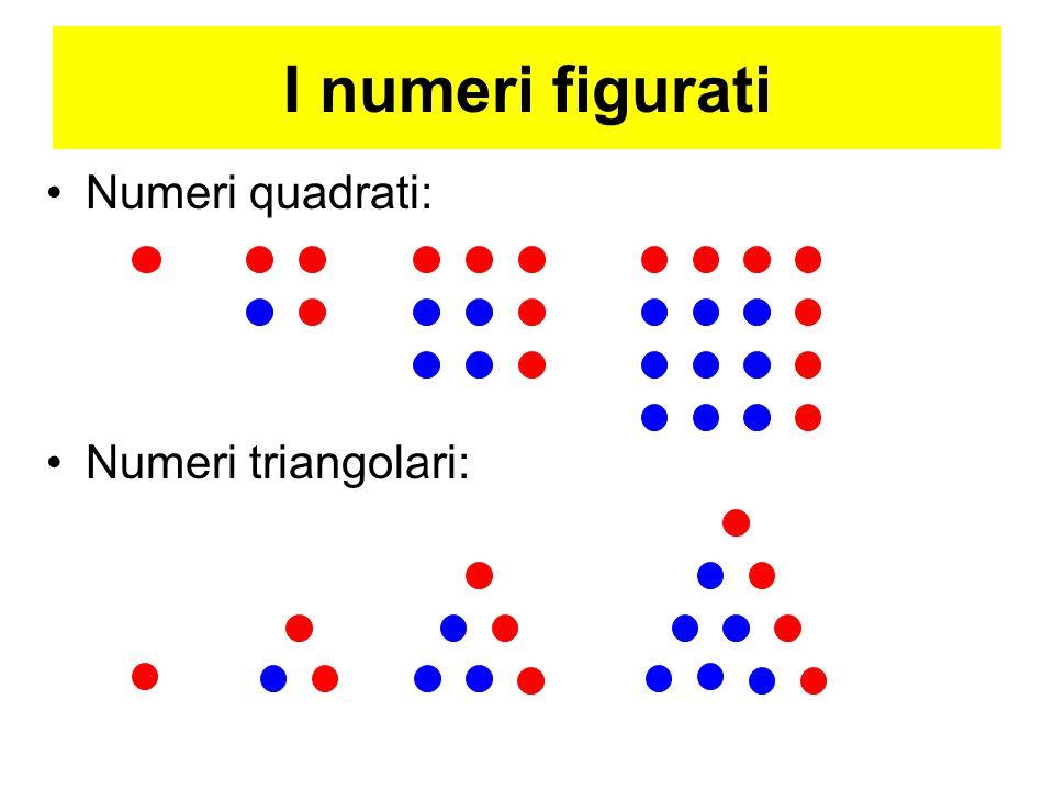 I numeri figurati Numeri quadrati: Numeri triangolari: