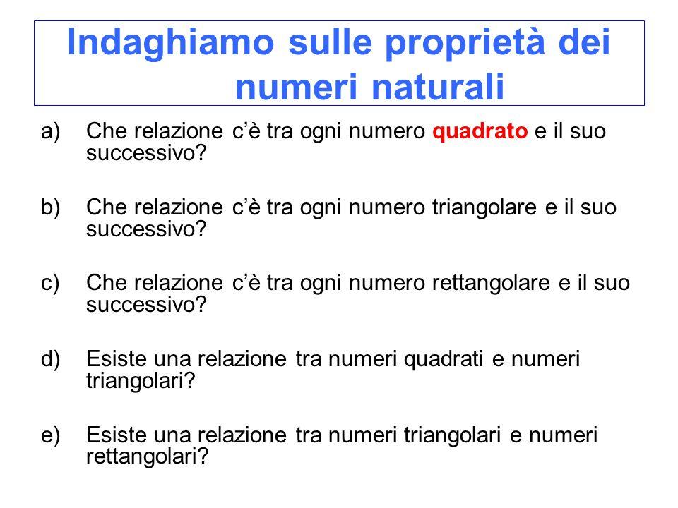 Indaghiamo sulle proprietà dei numeri naturali a)Che relazione cè tra ogni numero quadrato e il suo successivo? b)Che relazione cè tra ogni numero tri