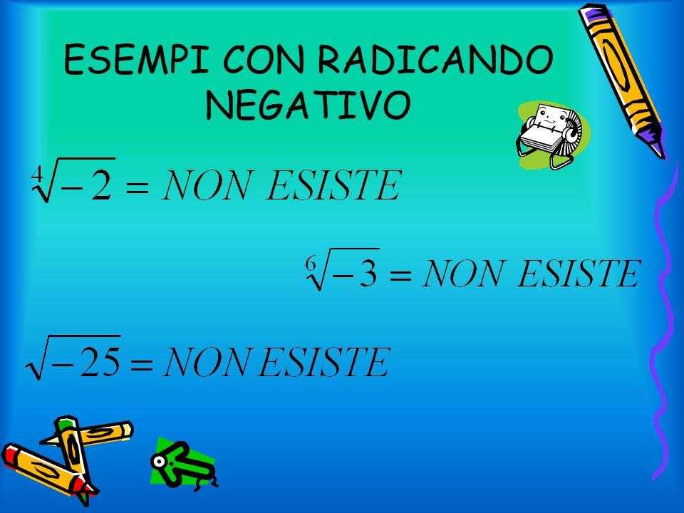 ESEMPI DI RADICANDO POSITIVO In questo esempio il risultato è a, perché ha lindice 3 che è un numero dispari e quindi non ha bisogno di valore assoluto Invece in questi due esempi lindice è pari e quindi i radicandi hanno bisogno del valore assoluto