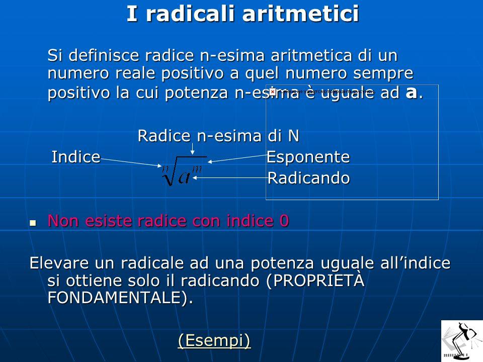 Divisione di 2 radicali aventi lo stesso indice Si riduce ad un solo radicale avente il medesimo indice e per radicando il quoziente dei radicandi.