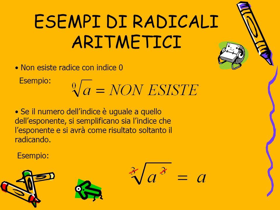 ESEMPI DI RADICALI ARITMETICI Se il numero dellindice è uguale a quello dellesponente, si semplificano sia lindice che lesponente e si avrà come risultato soltanto il radicando.