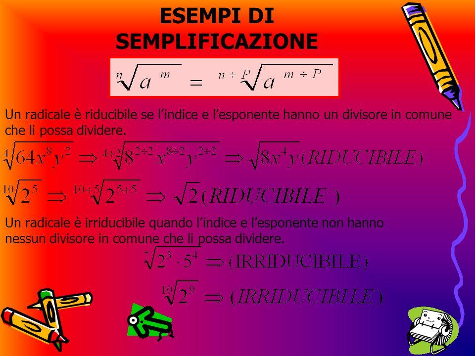 Proprietà invariantiva dei radicali riduzione di più radicali allo stesso indice semplificazione di un radicale Dato un radicale aritmetico il suo valore non cambia se si moltiplicano o si dividono per uno stesso numero diverso da 0 lindice della radice e lesponente del radicando.