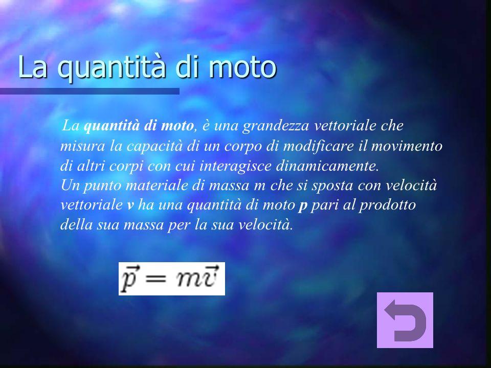 La quantità di moto La quantità di moto, è una grandezza vettoriale che misura la capacità di un corpo di modificare il movimento di altri corpi con cui interagisce dinamicamente.