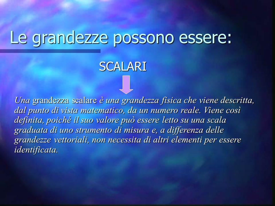 Le grandezze possono essere: SCALARI SCALARI Una grandezza scalare è una grandezza fisica che viene descritta, dal punto di vista matematico, da un numero reale.