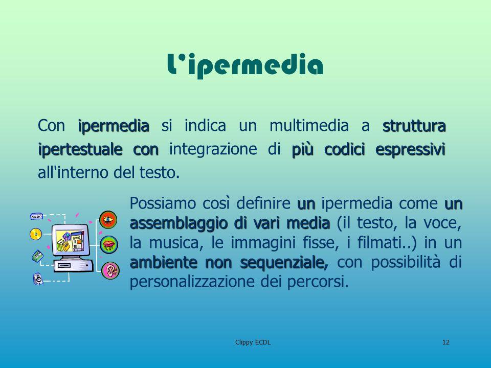Clippy ECDL12 Lipermedia ipermediastruttura ipertestualeconpiù codici espressivi Con ipermedia si indica un multimedia a struttura ipertestuale con in