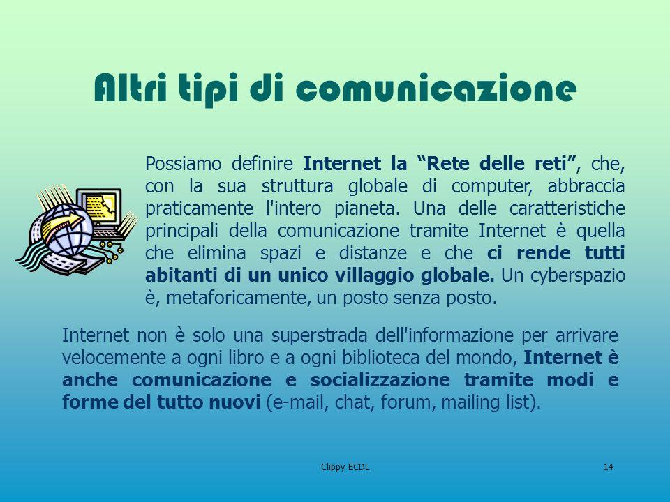 Clippy ECDL14 Altri tipi di comunicazione Internet non è solo una superstrada dell'informazione per arrivare velocemente a ogni libro e a ogni bibliot