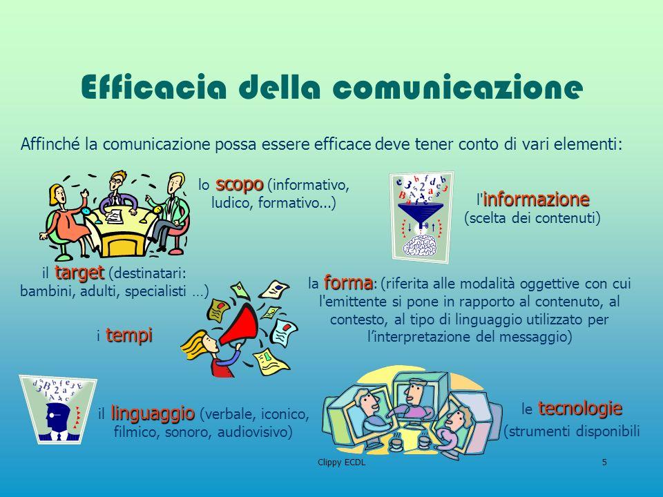 Clippy ECDL5 Efficacia della comunicazione Affinché la comunicazione possa essere efficace deve tener conto di vari elementi: target il target (destin