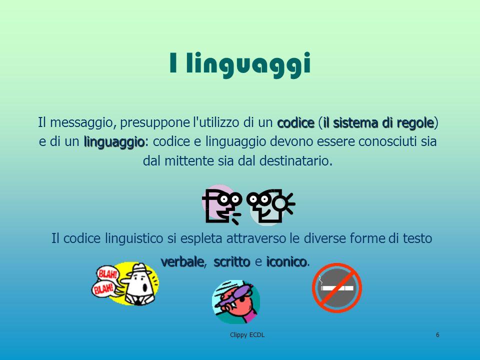 Clippy ECDL6 I linguaggi Il codice linguistico si espleta attraverso le diverse forme di testo codiceilsistema di regole linguaggio Il messaggio, pres