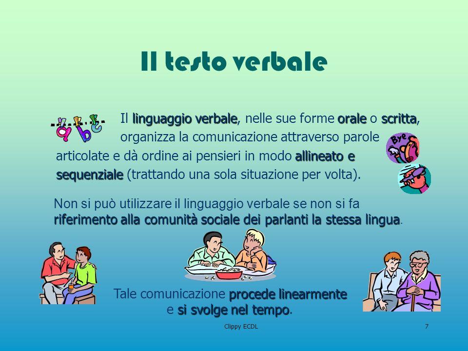 Clippy ECDL7 Il testo verbale linguaggio verbaleoralescritta Il linguaggio verbale, nelle sue forme orale o scritta, allineato e sequenziale organizza