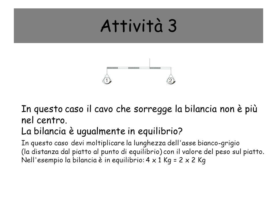 Attività 3 In questo caso il cavo che sorregge la bilancia non è più nel centro. La bilancia è ugualmente in equilibrio? In questo caso devi moltiplic