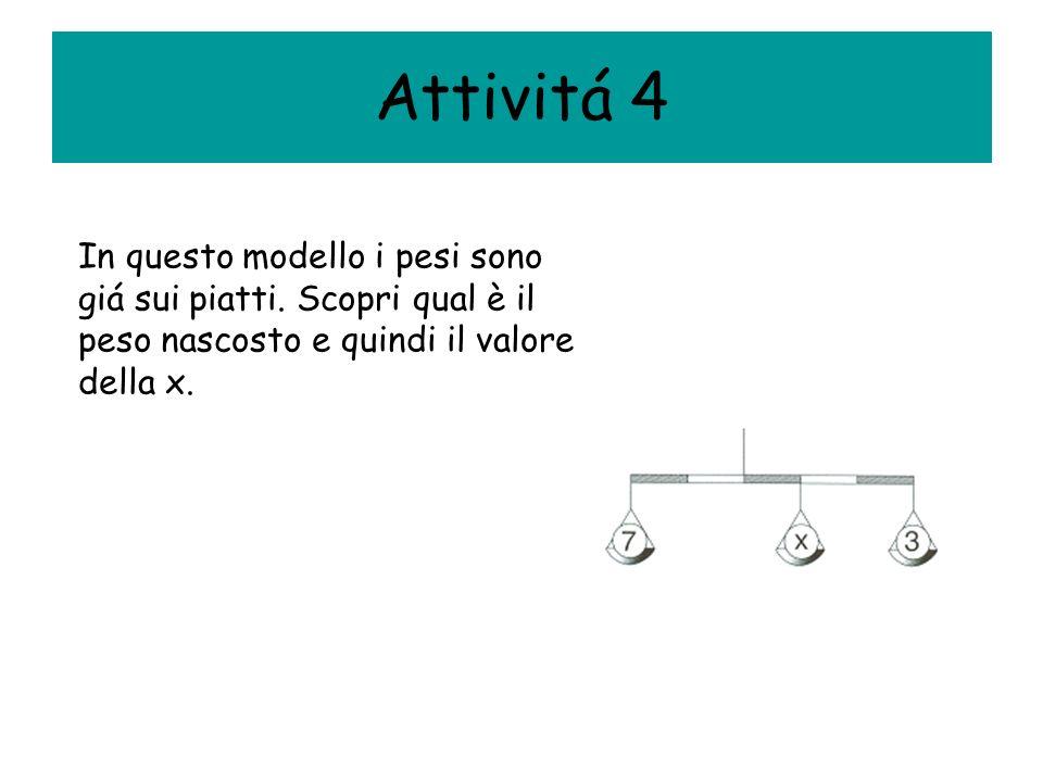 Attivitá 4 In questo modello i pesi sono giá sui piatti. Scopri qual è il peso nascosto e quindi il valore della x.