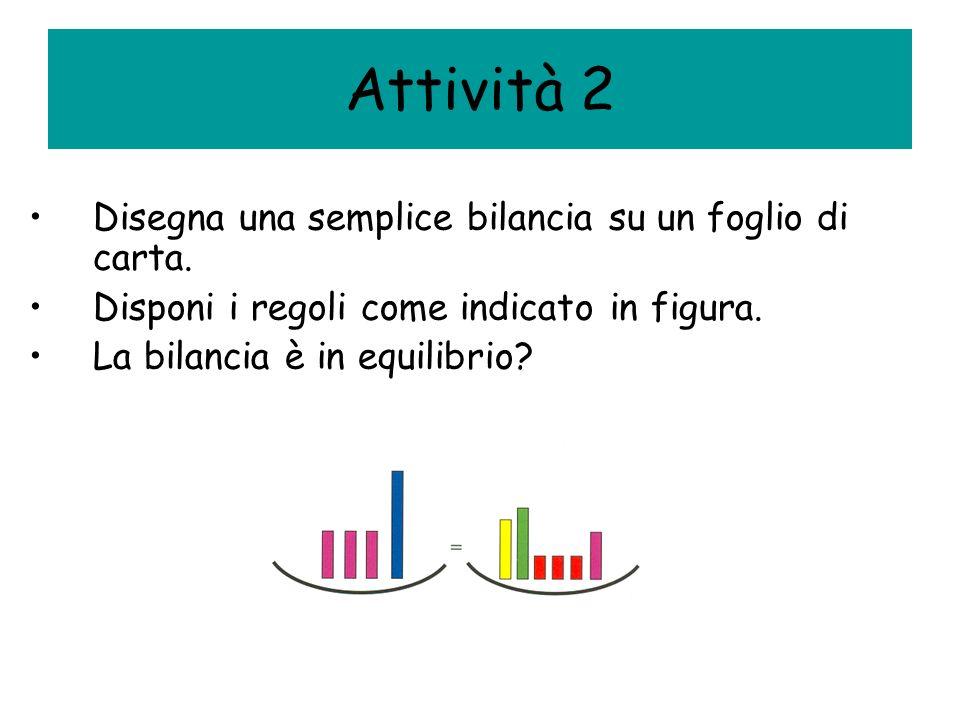 Attività 2 Disegna una semplice bilancia su un foglio di carta. Disponi i regoli come indicato in figura. La bilancia è in equilibrio?