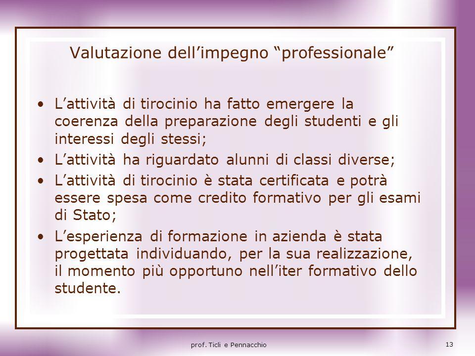 Valutazione dellimpegno professionale Lattività di tirocinio ha fatto emergere la coerenza della preparazione degli studenti e gli interessi degli ste