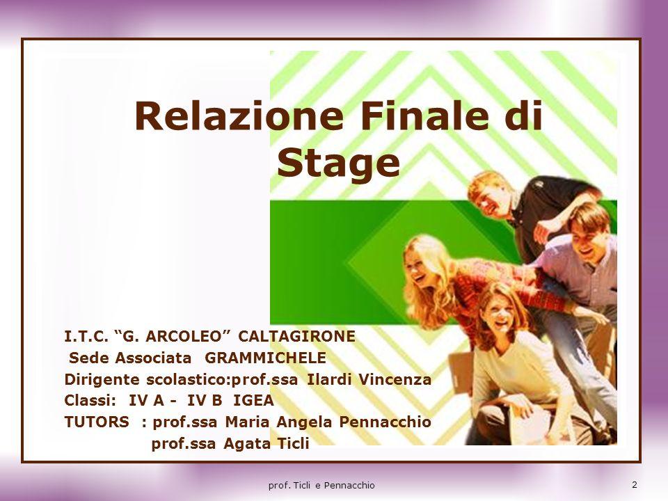 Relazione Finale di Stage I.T.C. G. ARCOLEO CALTAGIRONE Sede Associata GRAMMICHELE Dirigente scolastico:prof.ssa Ilardi Vincenza Classi: IV A - IV B I