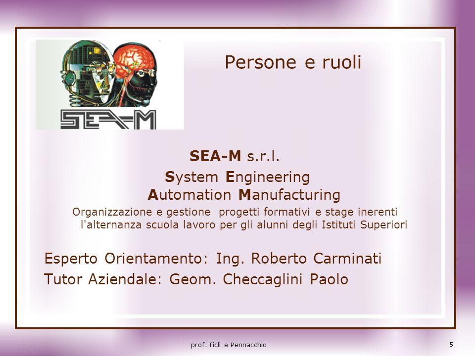 Persone e ruoli SEA-M s.r.l. System Engineering Automation Manufacturing Organizzazione e gestione progetti formativi e stage inerenti l'alternanza sc