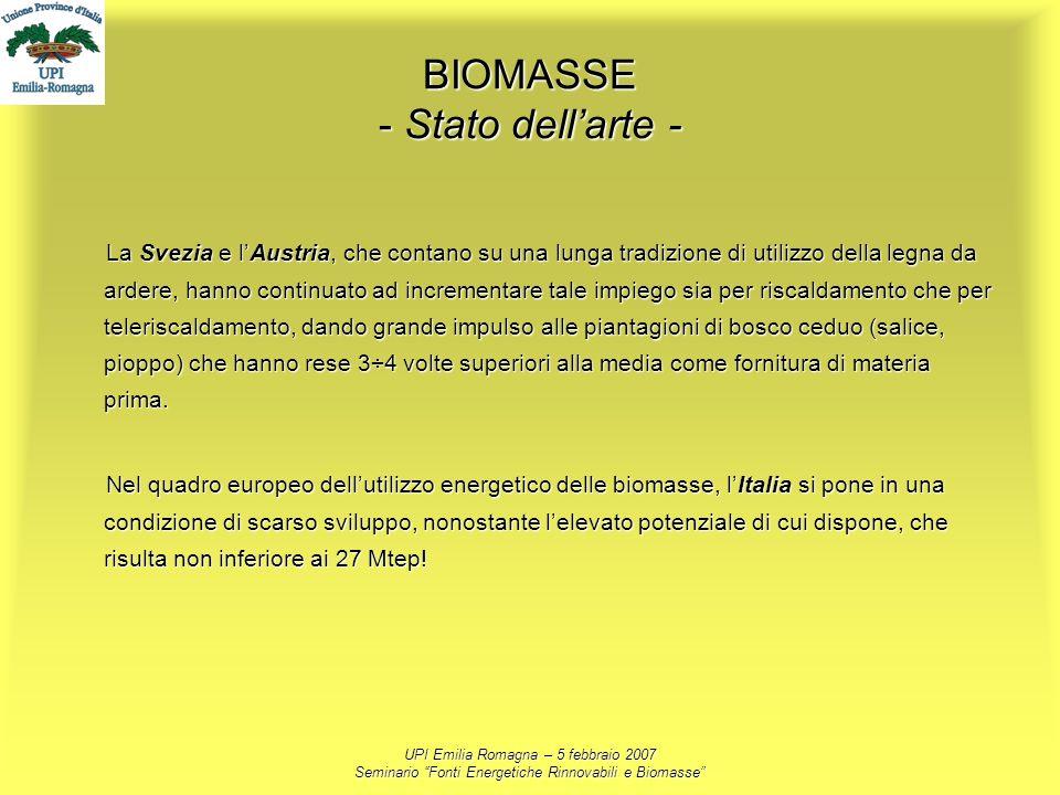 UPI Emilia Romagna – 5 febbraio 2007 Seminario Fonti Energetiche Rinnovabili e Biomasse BIOMASSE - Stato dellarte - La Svezia e lAustria, che contano