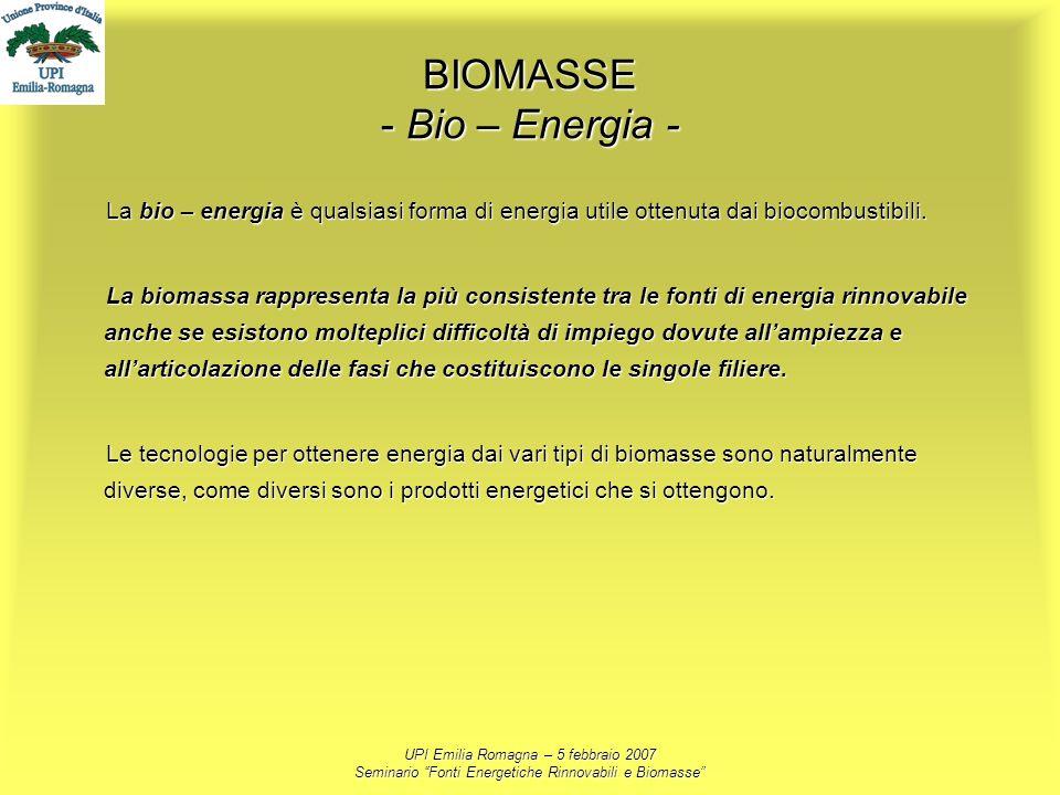 UPI Emilia Romagna – 5 febbraio 2007 Seminario Fonti Energetiche Rinnovabili e Biomasse BIOMASSE - Bio – Energia - La bio – energia è qualsiasi forma
