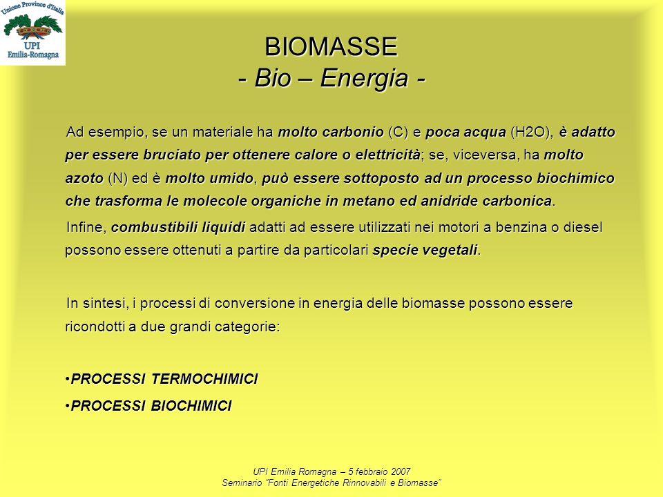 UPI Emilia Romagna – 5 febbraio 2007 Seminario Fonti Energetiche Rinnovabili e Biomasse BIOMASSE - Bio – Energia - Ad esempio, se un materiale ha molt