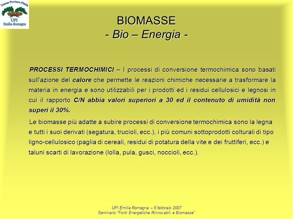 UPI Emilia Romagna – 5 febbraio 2007 Seminario Fonti Energetiche Rinnovabili e Biomasse BIOMASSE - Bio – Energia - PROCESSI TERMOCHIMICI – I processi