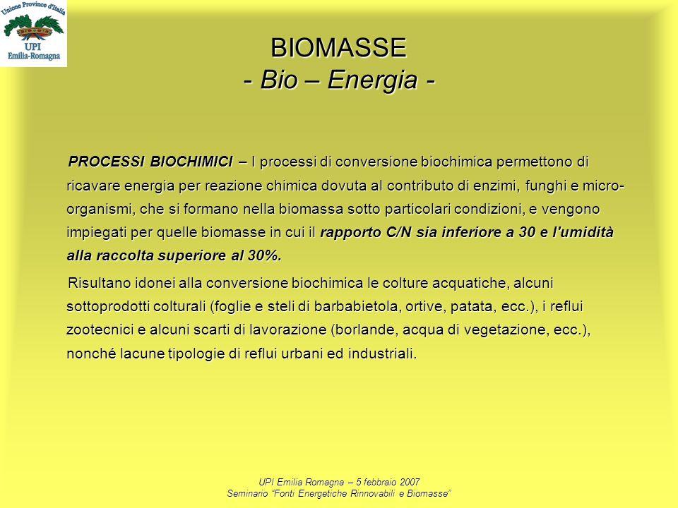 UPI Emilia Romagna – 5 febbraio 2007 Seminario Fonti Energetiche Rinnovabili e Biomasse BIOMASSE - Bio – Energia - PROCESSI BIOCHIMICI – I processi di