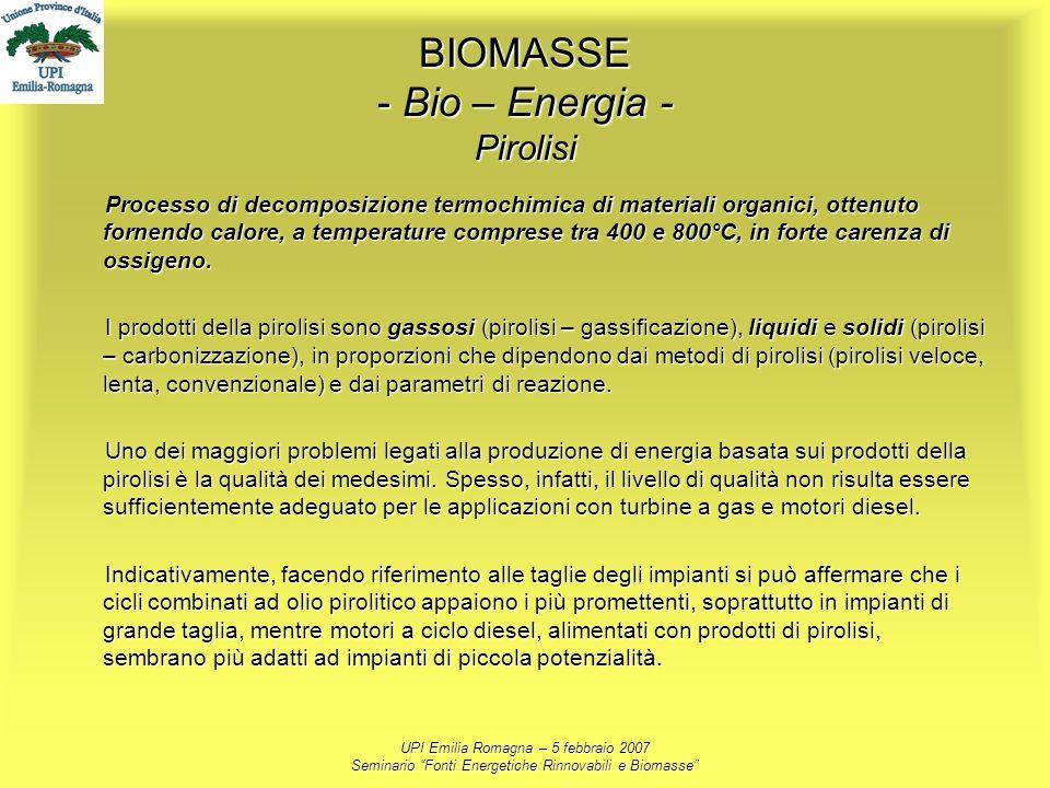 UPI Emilia Romagna – 5 febbraio 2007 Seminario Fonti Energetiche Rinnovabili e Biomasse BIOMASSE - Bio – Energia - Pirolisi Processo di decomposizione