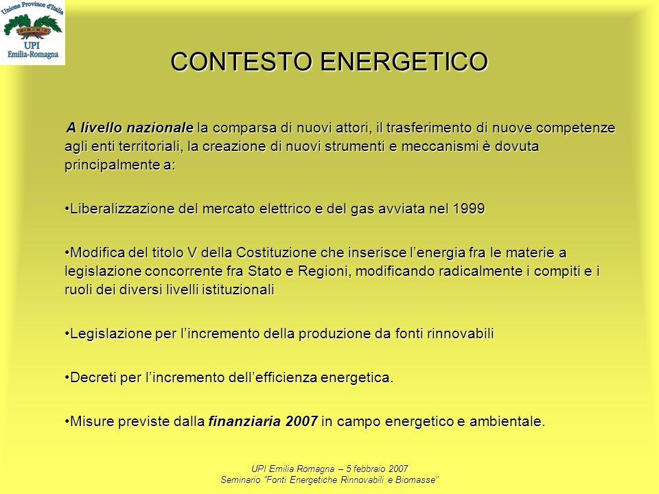 UPI Emilia Romagna – 5 febbraio 2007 Seminario Fonti Energetiche Rinnovabili e Biomasse CONTESTO ENERGETICO A livello nazionale la comparsa di nuovi a