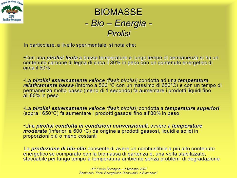 UPI Emilia Romagna – 5 febbraio 2007 Seminario Fonti Energetiche Rinnovabili e Biomasse BIOMASSE - Bio – Energia - Pirolisi In particolare, a livello