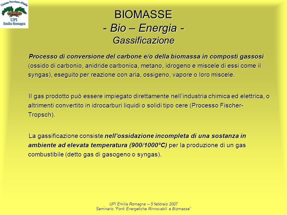 UPI Emilia Romagna – 5 febbraio 2007 Seminario Fonti Energetiche Rinnovabili e Biomasse BIOMASSE - Bio – Energia - Gassificazione Processo di conversi