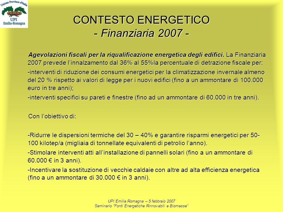 UPI Emilia Romagna – 5 febbraio 2007 Seminario Fonti Energetiche Rinnovabili e Biomasse CONTESTO ENERGETICO - Finanziaria 2007 - Agevolazioni fiscali