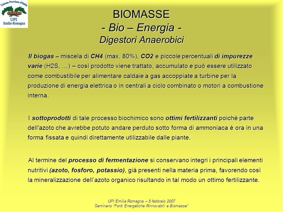 UPI Emilia Romagna – 5 febbraio 2007 Seminario Fonti Energetiche Rinnovabili e Biomasse BIOMASSE - Bio – Energia - Digestori Anaerobici Il biogas – mi