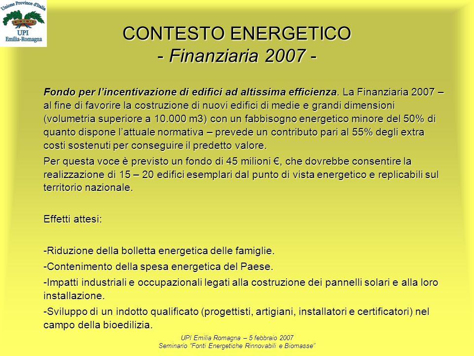 UPI Emilia Romagna – 5 febbraio 2007 Seminario Fonti Energetiche Rinnovabili e Biomasse CONTESTO ENERGETICO - Finanziaria 2007 - Fondo per lincentivaz