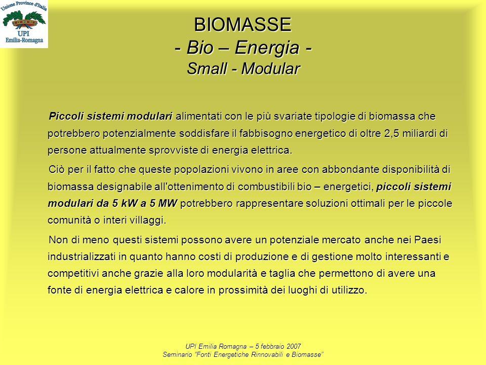UPI Emilia Romagna – 5 febbraio 2007 Seminario Fonti Energetiche Rinnovabili e Biomasse BIOMASSE - Bio – Energia - Small - Modular Piccoli sistemi mod