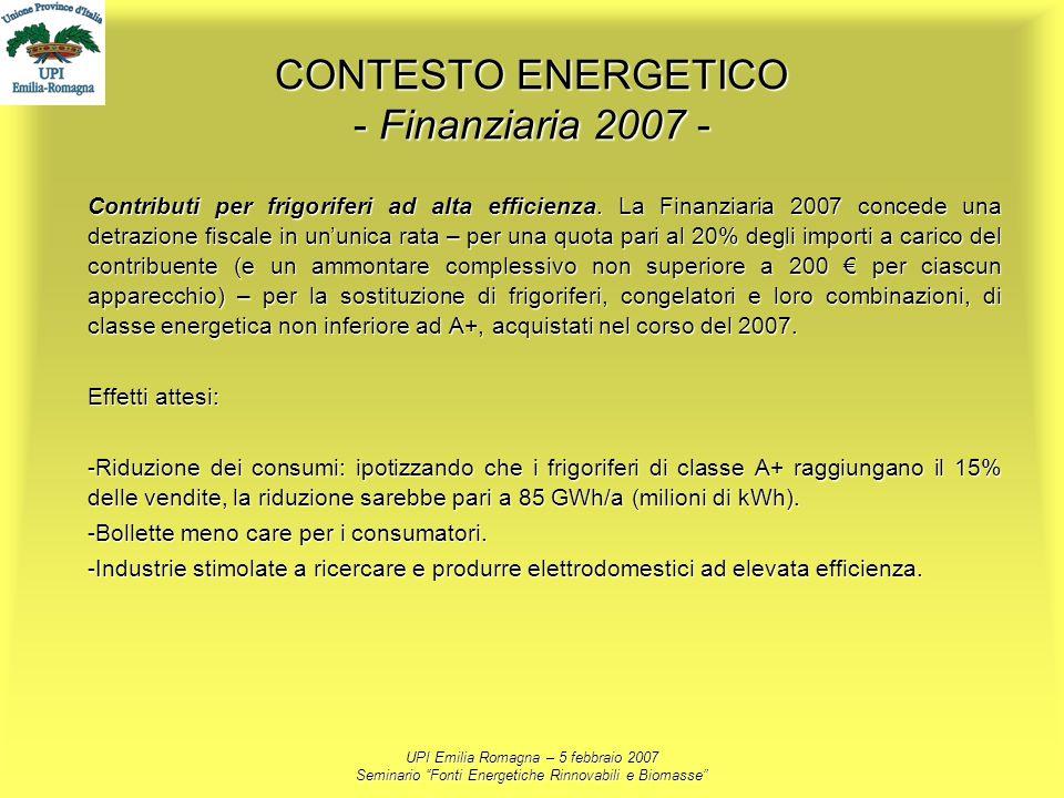 UPI Emilia Romagna – 5 febbraio 2007 Seminario Fonti Energetiche Rinnovabili e Biomasse CONTESTO ENERGETICO - Finanziaria 2007 - Contributi per frigor