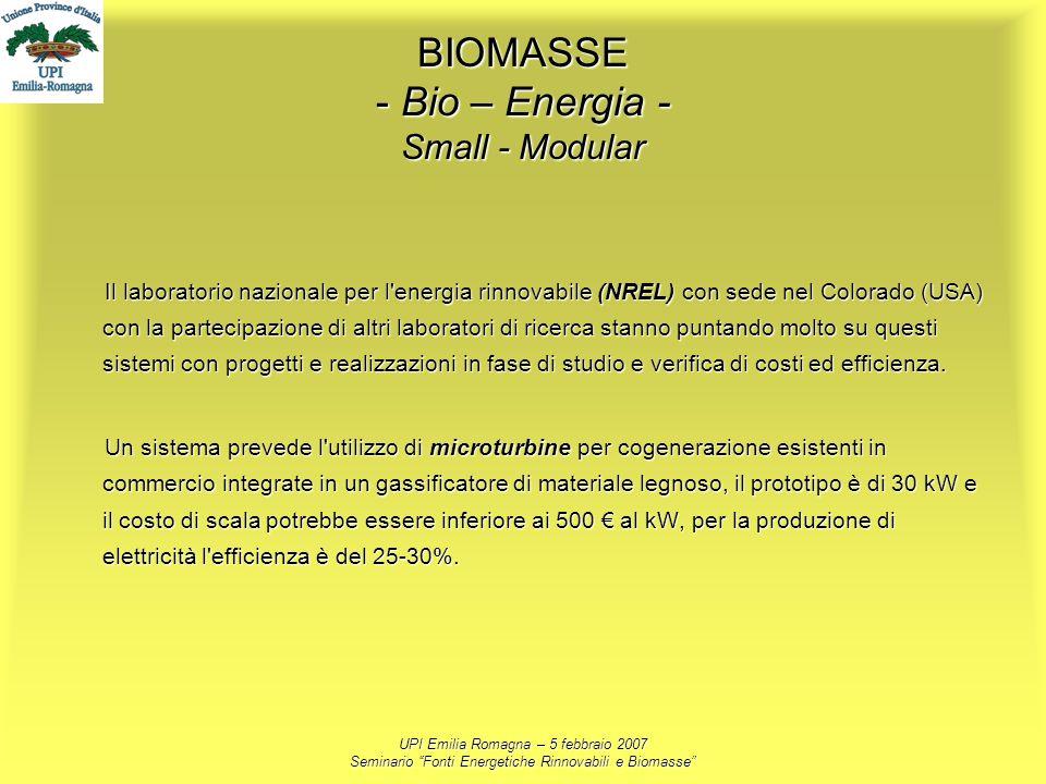 UPI Emilia Romagna – 5 febbraio 2007 Seminario Fonti Energetiche Rinnovabili e Biomasse BIOMASSE - Bio – Energia - Small - Modular Il laboratorio nazi