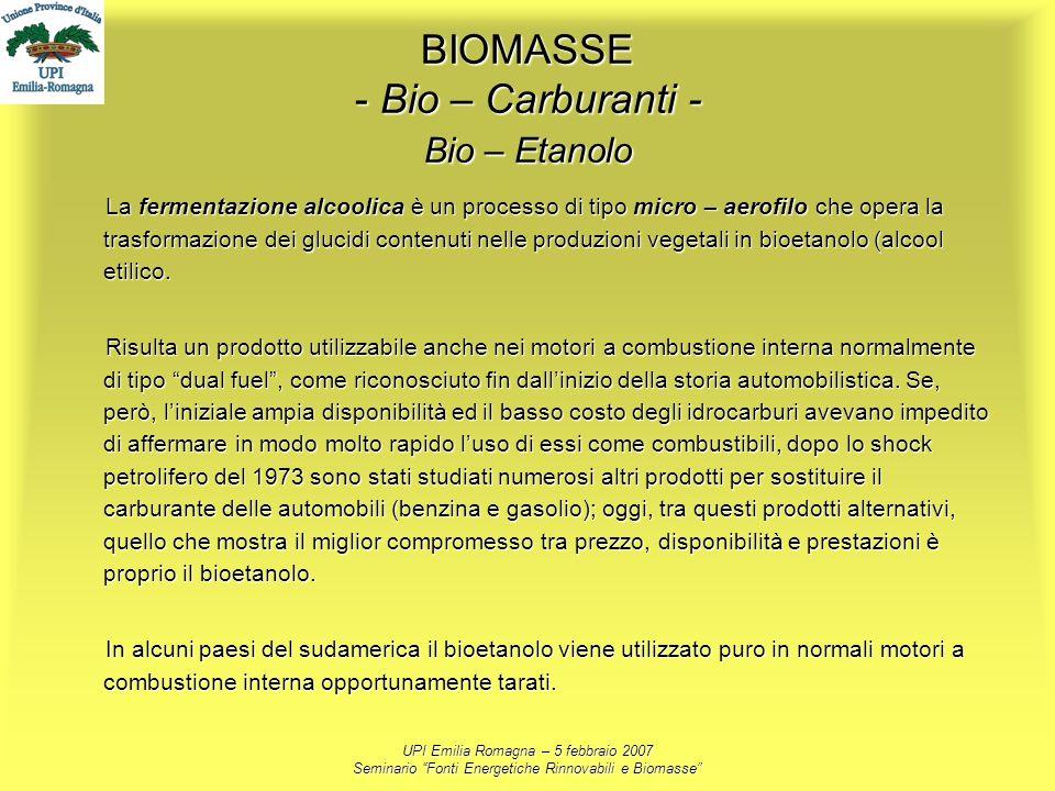 UPI Emilia Romagna – 5 febbraio 2007 Seminario Fonti Energetiche Rinnovabili e Biomasse BIOMASSE - Bio – Carburanti - Bio – Etanolo La fermentazione a