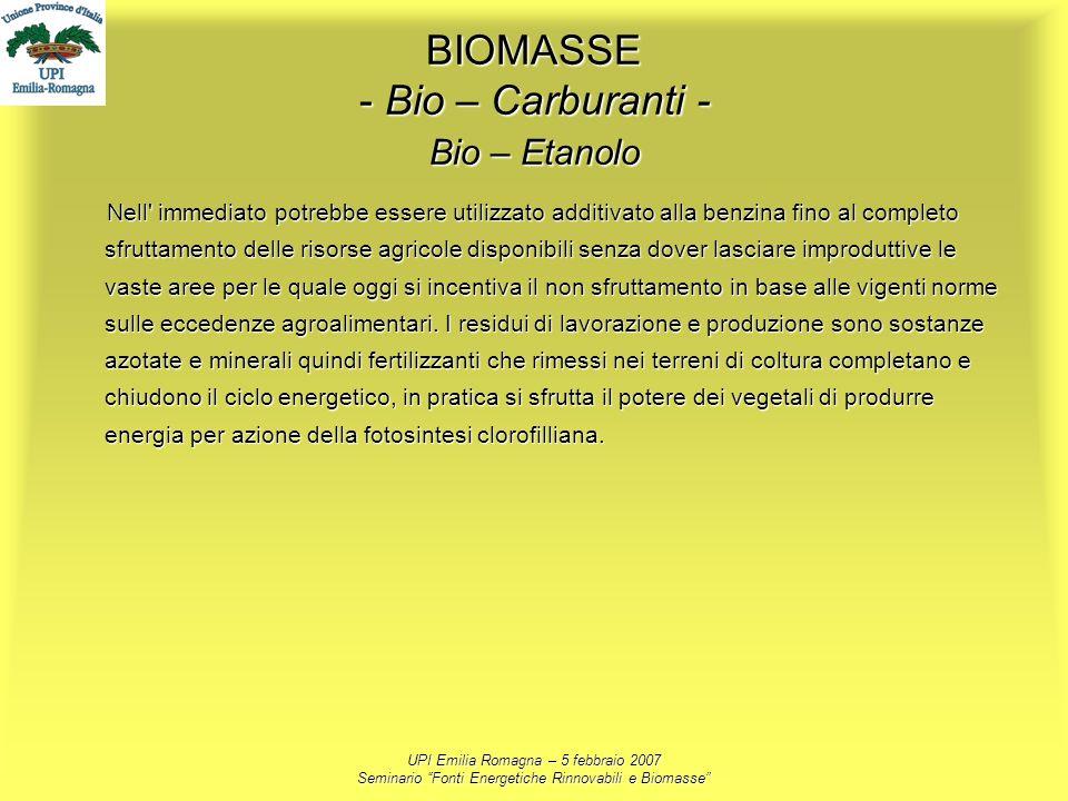 UPI Emilia Romagna – 5 febbraio 2007 Seminario Fonti Energetiche Rinnovabili e Biomasse BIOMASSE - Bio – Carburanti - Bio – Etanolo Nell' immediato po