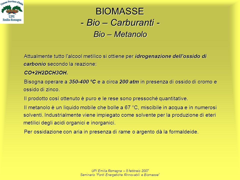 UPI Emilia Romagna – 5 febbraio 2007 Seminario Fonti Energetiche Rinnovabili e Biomasse BIOMASSE - Bio – Carburanti - Bio – Metanolo Attualmente tutto