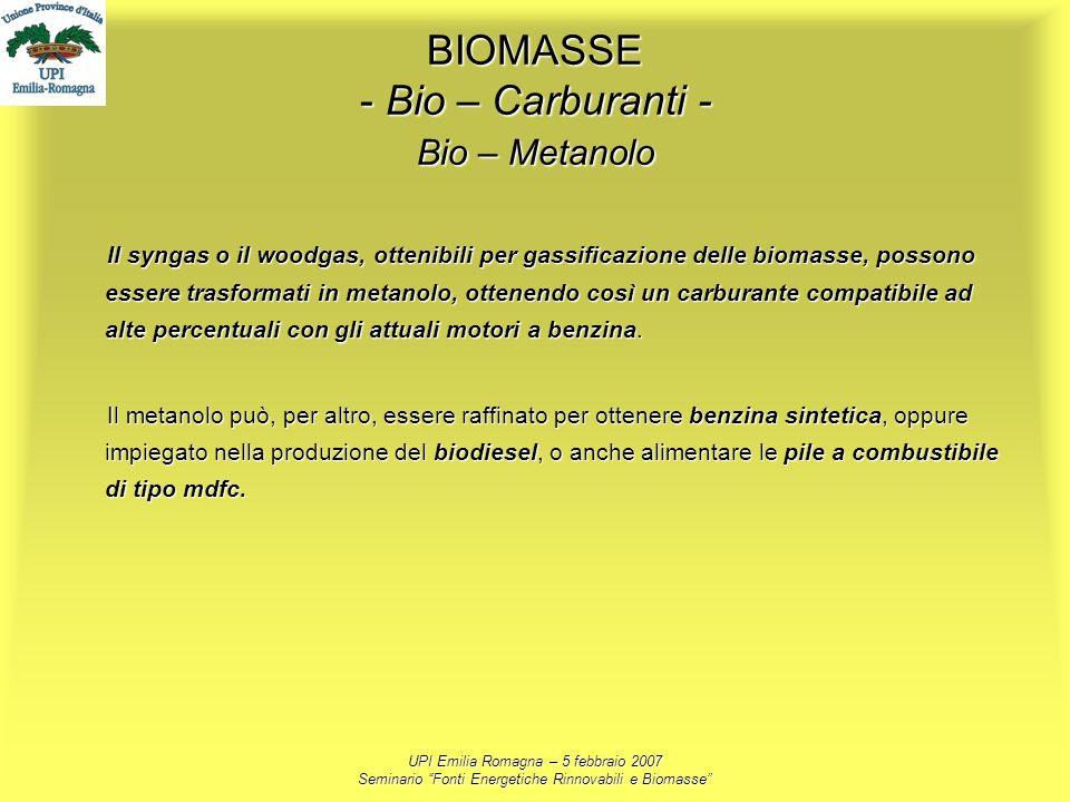 UPI Emilia Romagna – 5 febbraio 2007 Seminario Fonti Energetiche Rinnovabili e Biomasse BIOMASSE - Bio – Carburanti - Bio – Metanolo Il syngas o il wo